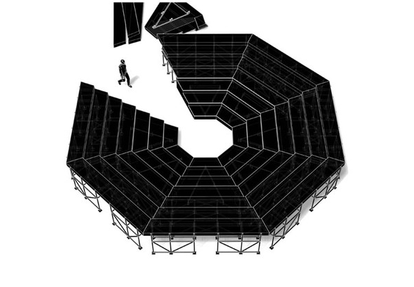 A drawing of a black octagonal structure with a figure walking in to an opening