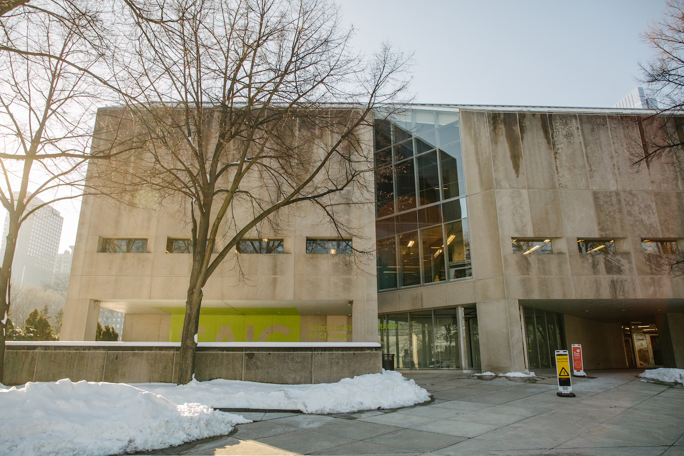 The exterior of an SAIC building in the winter