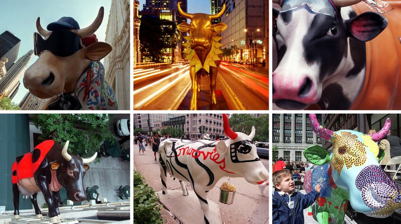 """Cows on Parade"" in Chicago in 1999, including a couple on Michigan Avenue, a LaSalle Bank Marathon cow, ""Nine Spotted Lady Bug Cow"" on the side of the Talbot Hotel, the Chicago Film Festival cow and ""Rhinestone Cowgirl."" (Tribune photos)"