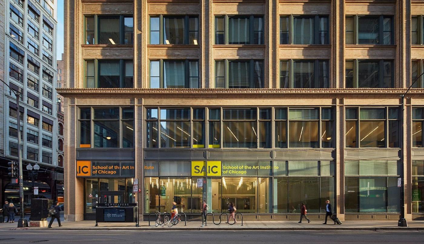 An exterior of a glass campus building in Chicago's loop
