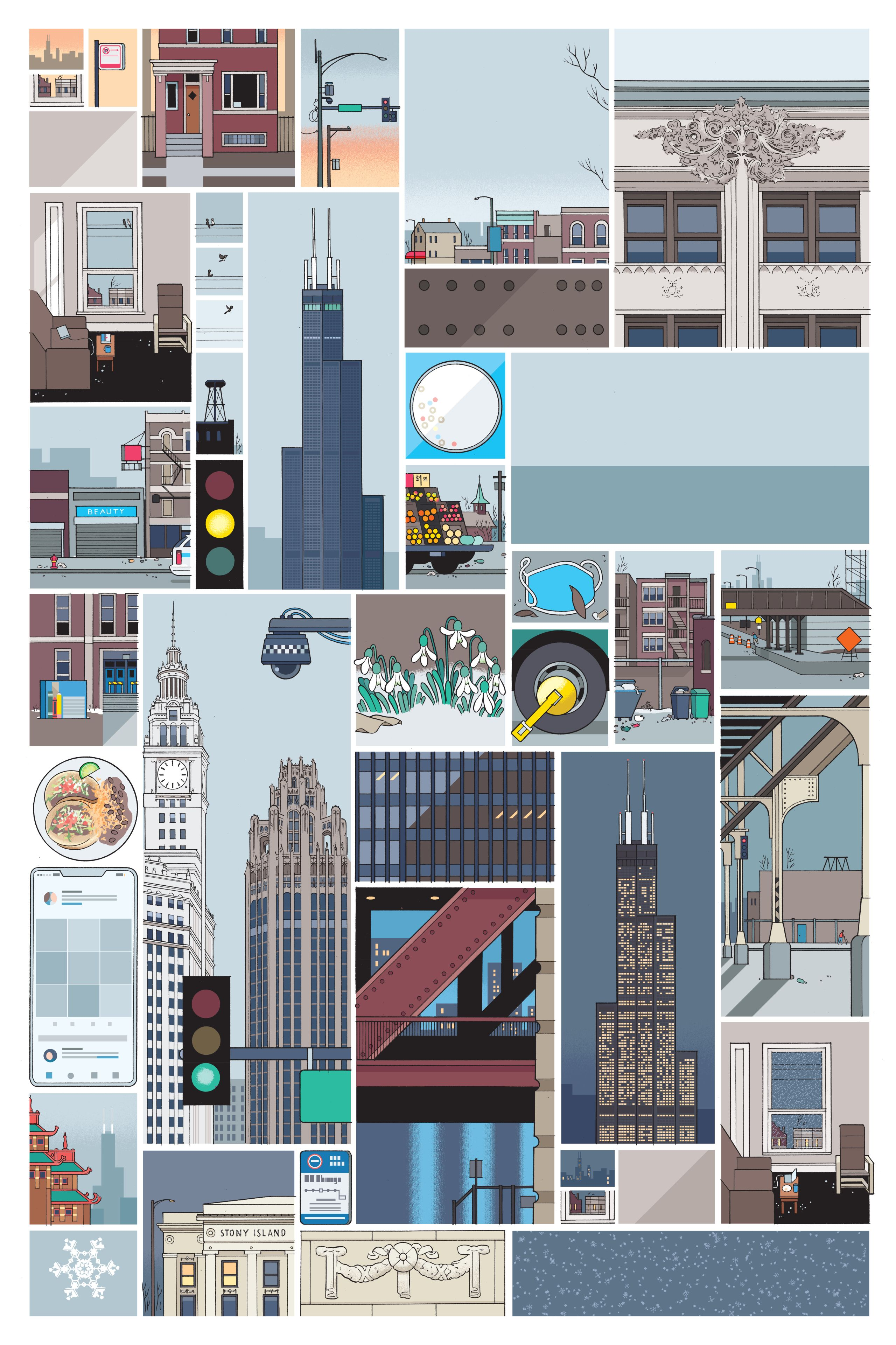 A drawn grid that shows various scenes of the city of Chicago - skyscrapers, trash-filled streets, scenes underneath the elevated train, stoplights, fronts of chicago houses, insides of apartments, etc.