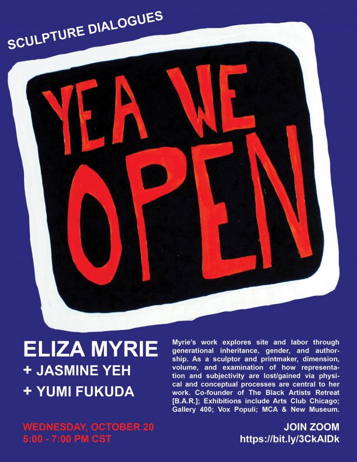 """poster for Eliza Myrie featuring hand drawn red black and white sign """"YEAH WE OPEN"""""""