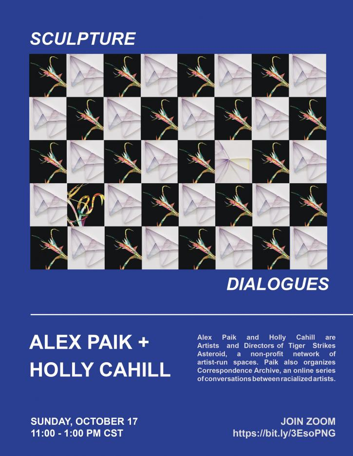 Sculpture Dialogues Poster: checkerboard image of Alex Paik and Holy Cahill's work