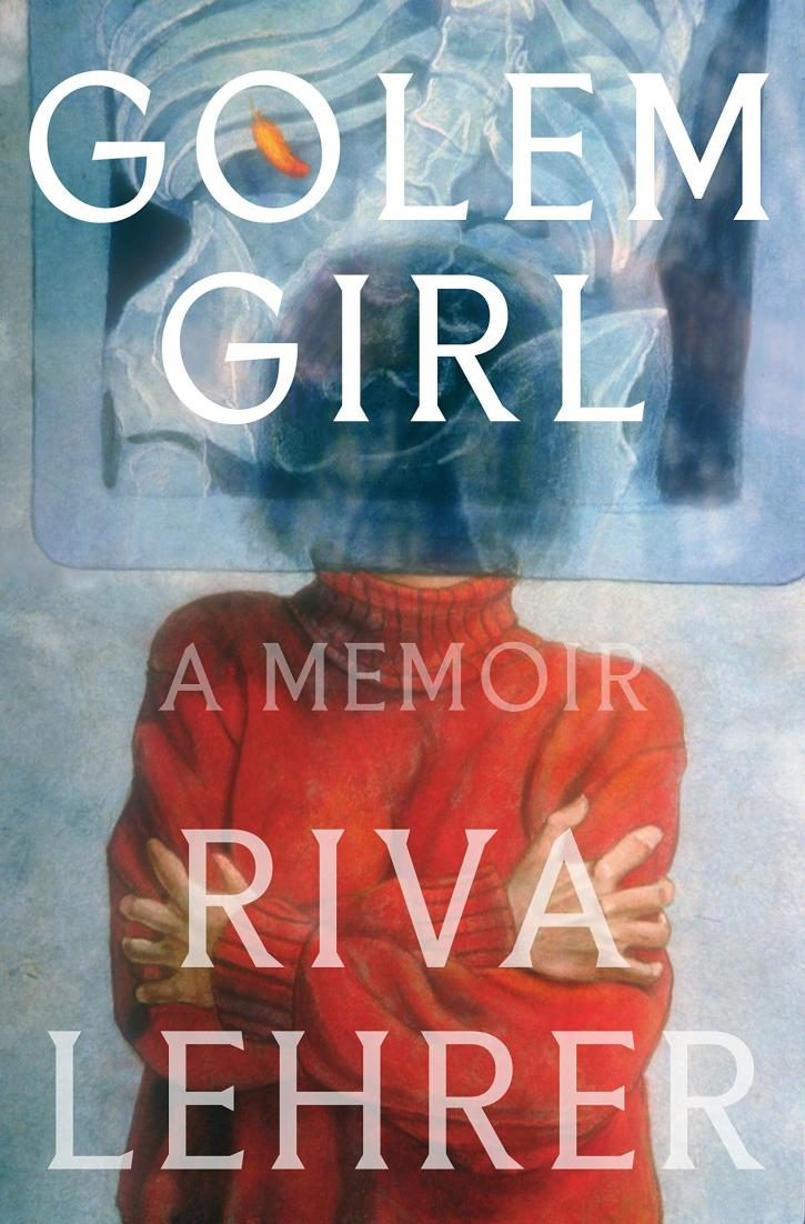 """Cover Art for """"Golem Girl"""": the title set over a shrouded face and a blue background"""