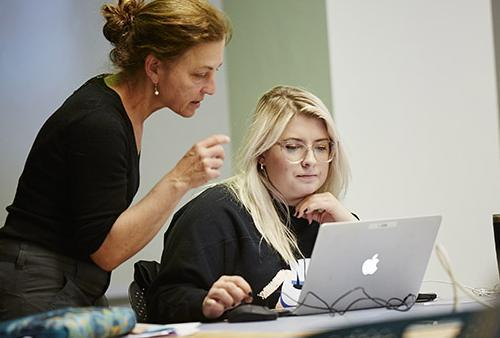 Faculty member assists student with project on laptop