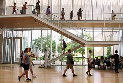 Students walk through the Modern Wing of the Art Institute of Chicago