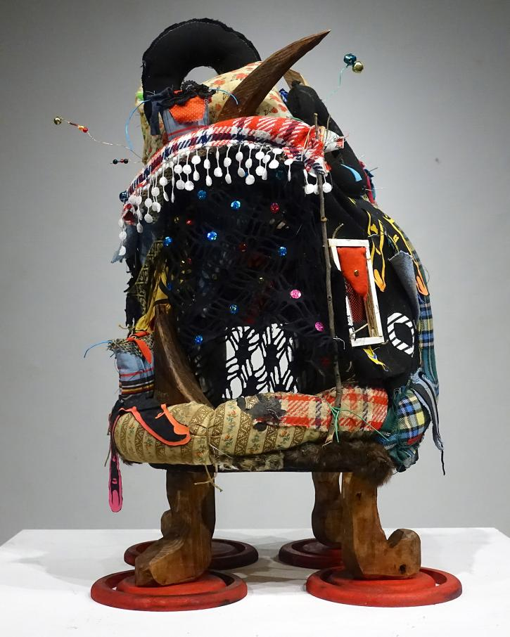 Nyugen E. Smith, Bundlehouse: FS Mini No.2, 2019, mixed media and found object sculpture, 31 x 18 ½ x 18 ½ inches.
