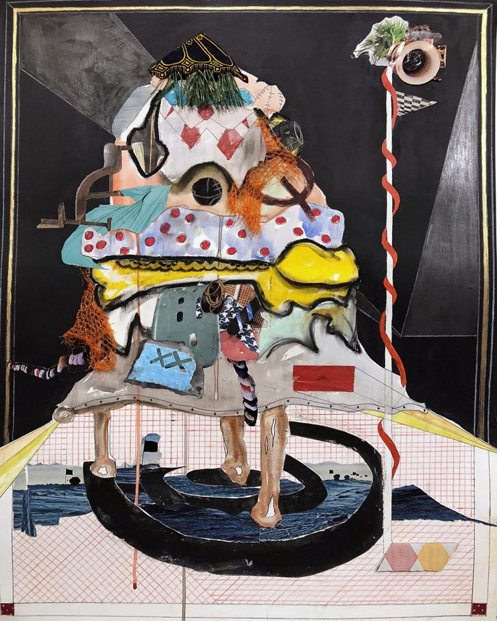 Nyugen E. Smith, Bundlehouse (On the radar), 2018, mixed media and collage on paper, 30 x 22 inches.