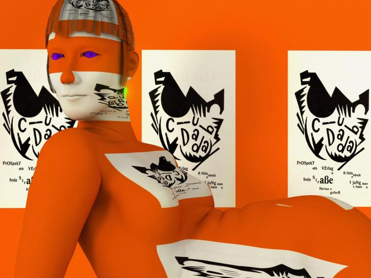 A virtual simulation of a reclining orange figure covered in text