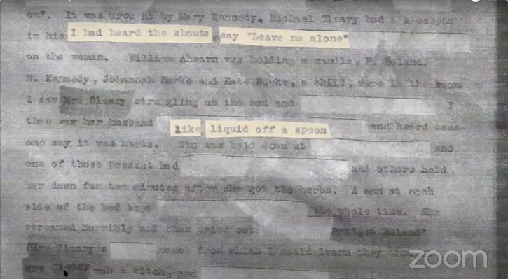 Typed sentences on paper with fragments cut out and highlighted