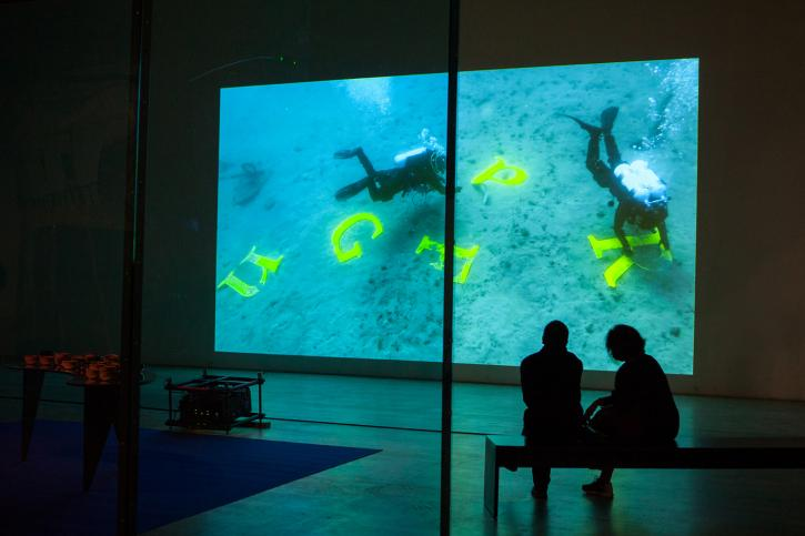 Raqs Media Collective, Deep Breath, 2019, single screen video projection, 24 minutes, 55 seconds.
