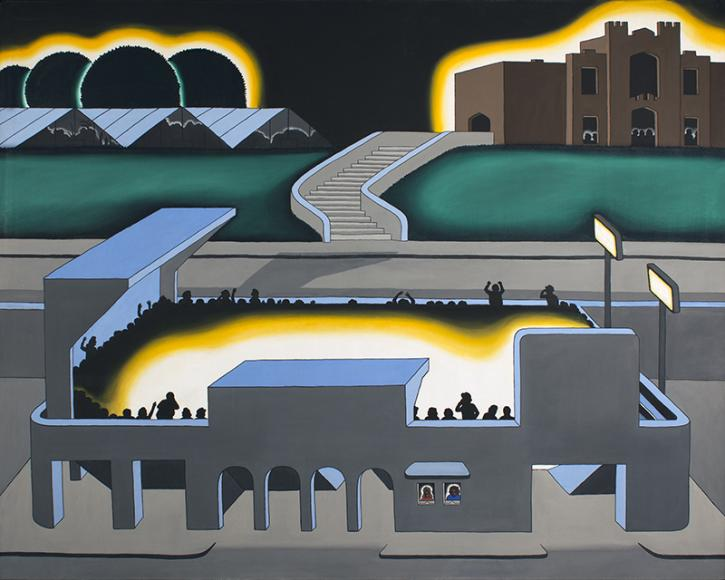 Roger Brown's Gothic Stadium painting from 1970