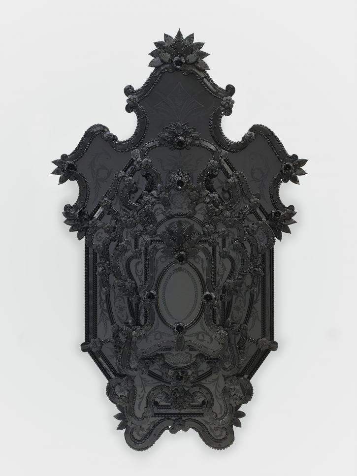 Fred Wilson, Iago's Desdemona, 2009, murano glass, plywood, metal pins, and hardware, 80 x 48 ¾ x 10 ½ inches.