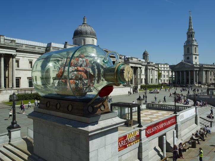 Yinka Shonibare CBE, Nelson's Ship in a Bottle, installation view: Trafalgar Square, London, 2010, 290 x 525 x 235 cm, fiberglass, steel, resin, UV ink on Dutch wax print cotton, linen rigging, acrylic, wood.