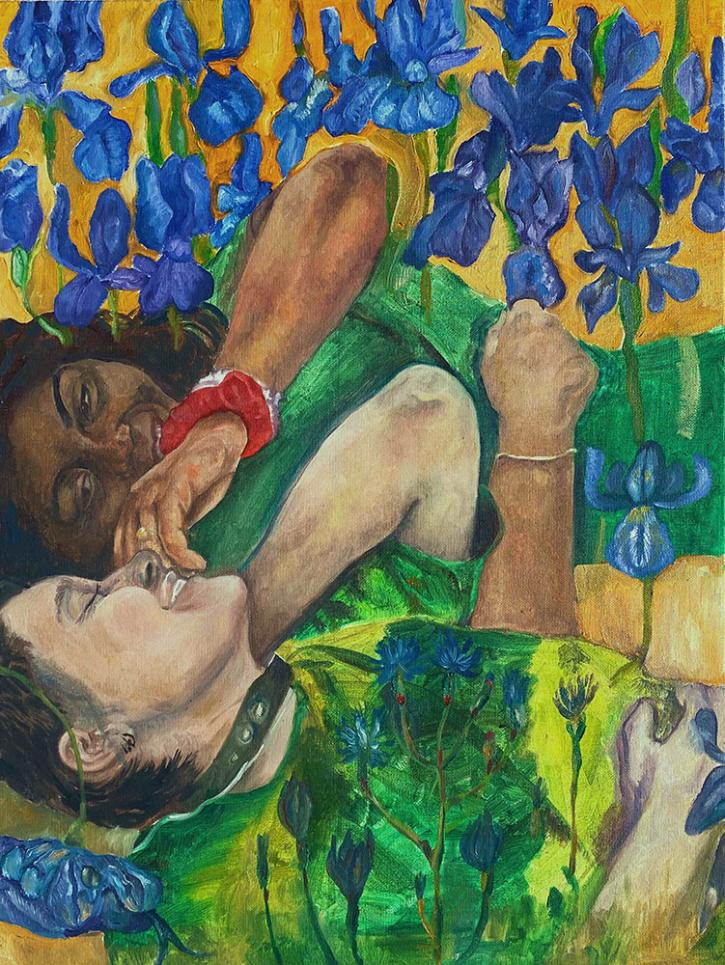 Painting of two women laying amongst flowers