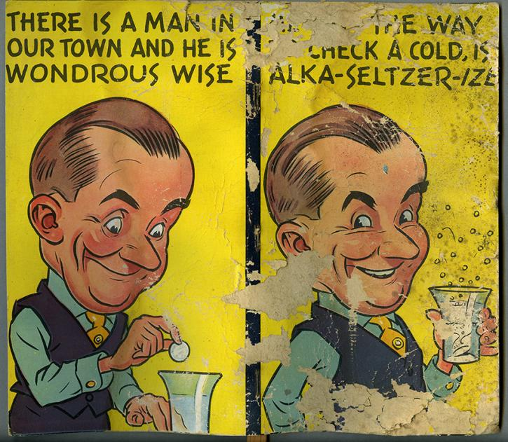 Alka Seltzer packaging with cartoon man from the RBSC archive
