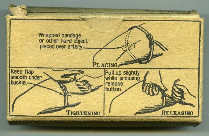 Small bandage wrapper with illustrated instructions for use from RBSC archive