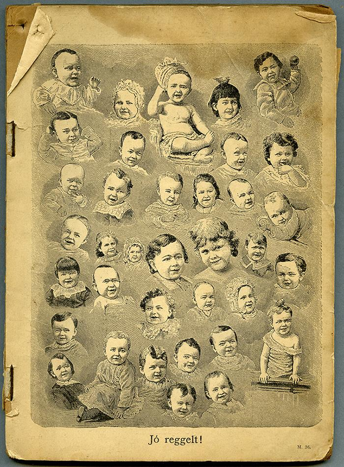 Illustration of several babies on a single page from the RBSC archive