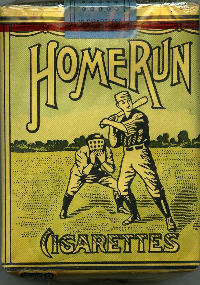 Home run brand cigarette package with illustrated baseball players