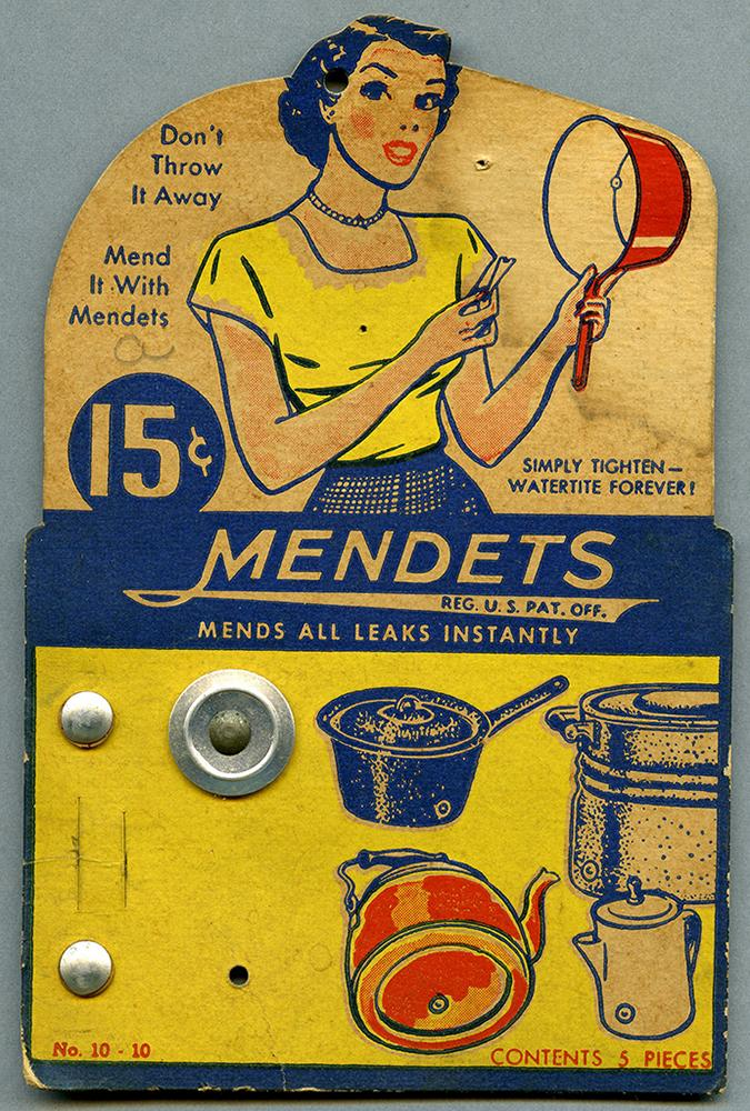 Package for pot repair kit with illustrated woman holding repaired pot