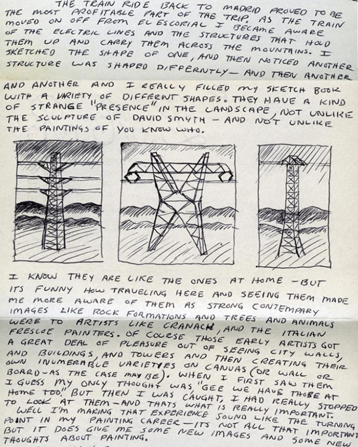 Roger Brown letter and sketch from RBSC archive