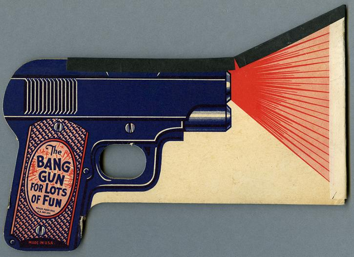 """Illustrated gun toy on paper with text 'The BANG GUN FOR LOTS OF FUN"""" from the RBSC archive"""