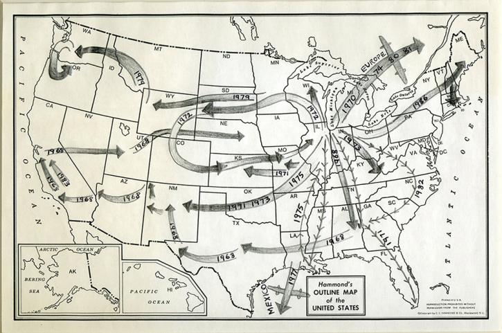 Roger Brown map from the RBSC archive