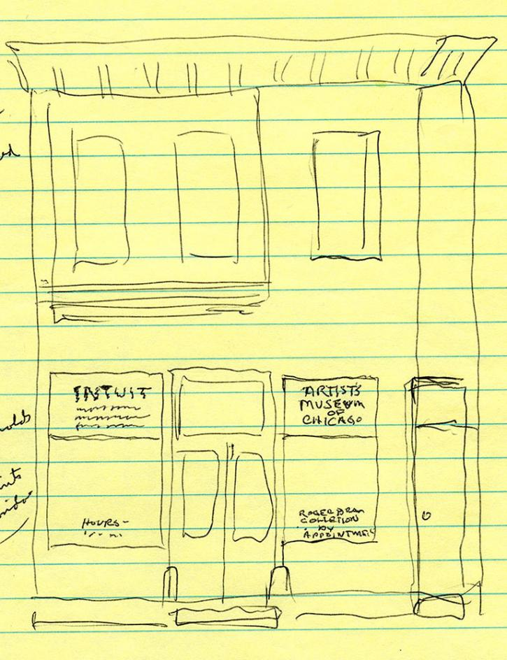 Roger Brown, sketch for signage on the storefront windows with Intuit: the Center for Intuitive and Outsider Art on the left, and Artists' Museum of Chicago on the right
