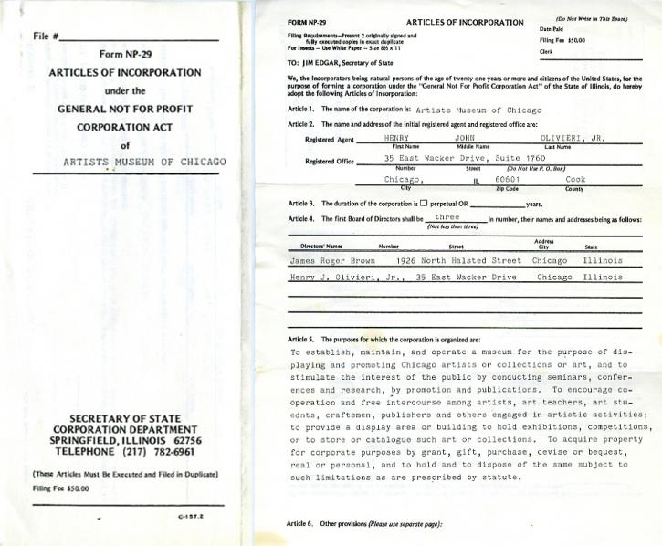 Incorporation papers for Brown's Artists Museum of Chicago, 1985