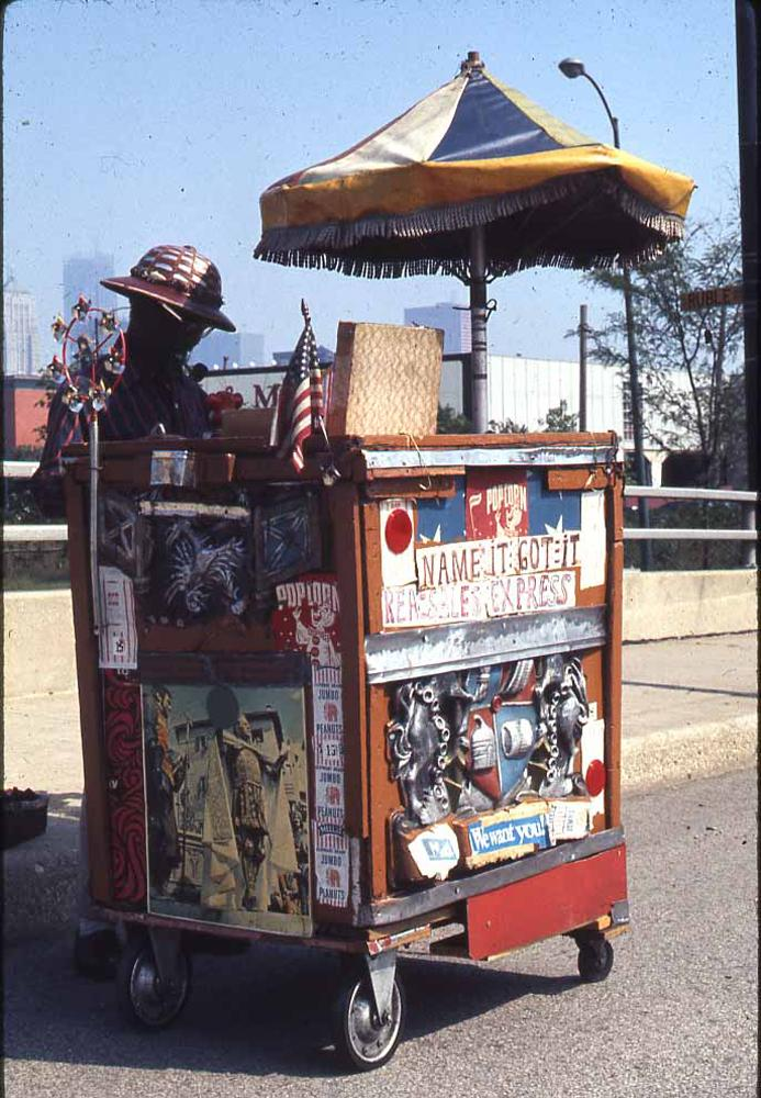 Roger Brown, photo of a vendor at the Maxwell St. Market, Chicago, c: 1970