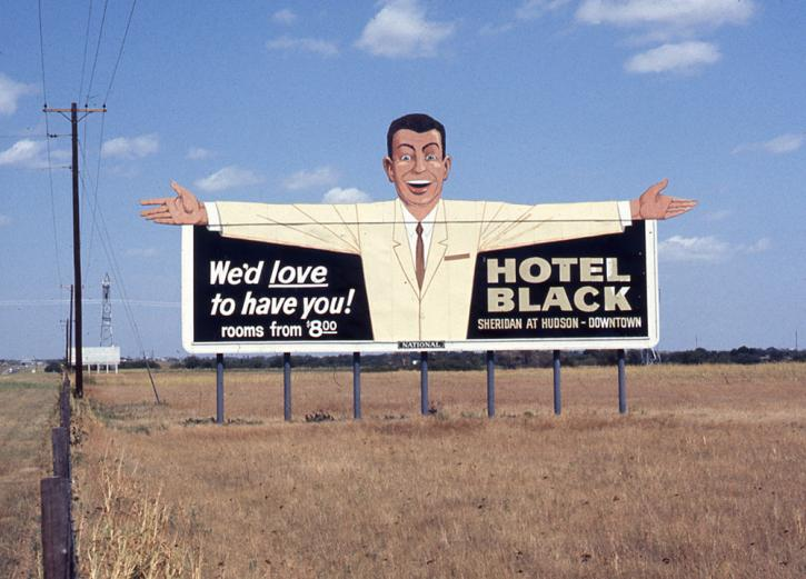 Roger Brown roadside photo, sign for Oklahoma City hotel