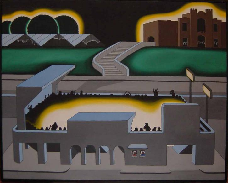 Roger Brown, Gothic Stadium, 1970, oil on canvas, 48 x 61.5 in. Roger Brown Study Collection. Photo: William H. Bengtson