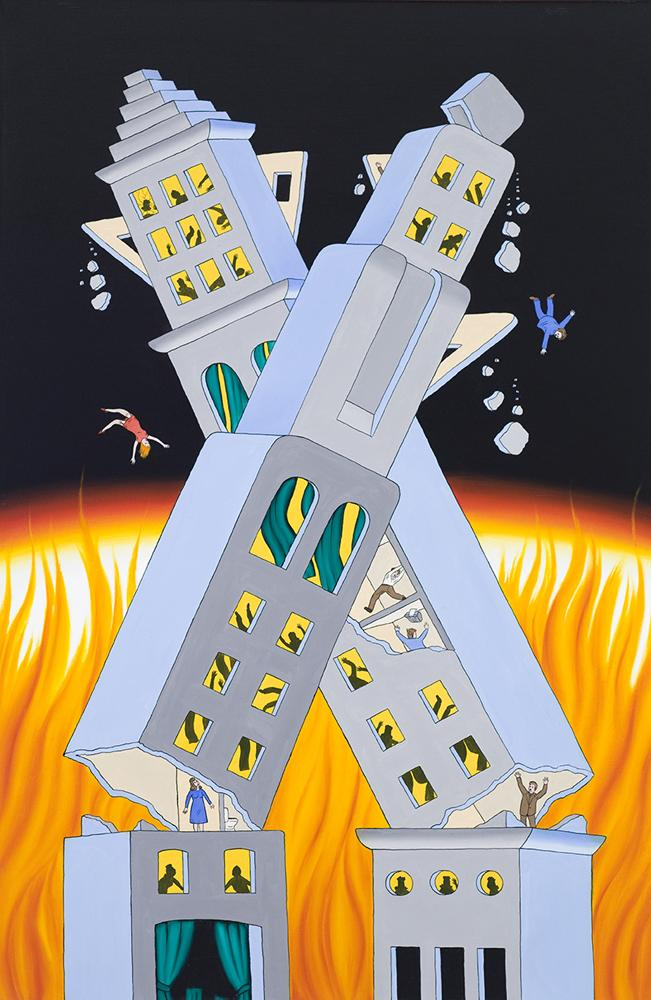 Roger Brown, Ablaze and Ajar, 1972, oil on canvas, 70 5/8 x 46 ¼ inches. Collection of the Museum of Contemporary Art, Chicago. Photo: William H. Bengtson