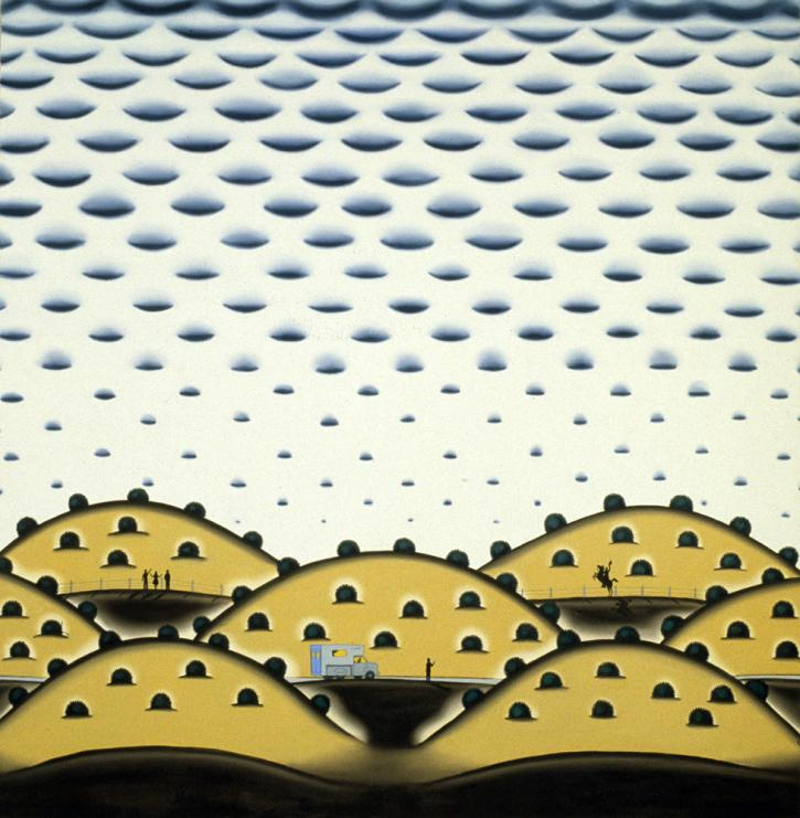 Roger Brown, Buttermilk Sky, 1974, oil on canvas, 72 ¼ x 70 ½ in. Private collection. Photo: William H. Bengtson