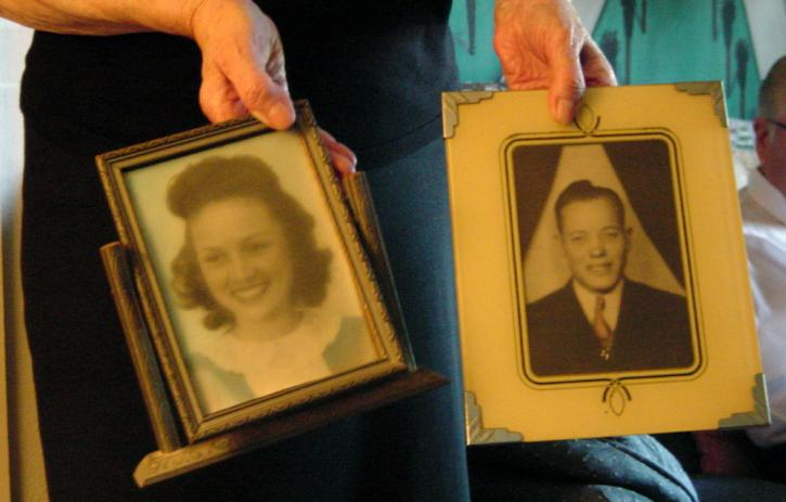 Photographs of Brown's parents, Elizabeth and James.
