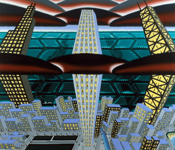 Land of Lincoln (View from Halfway Up). 1978, oil on canvas, 71 ½ x 84 in. Private collection. Photo: William H. Bengtson