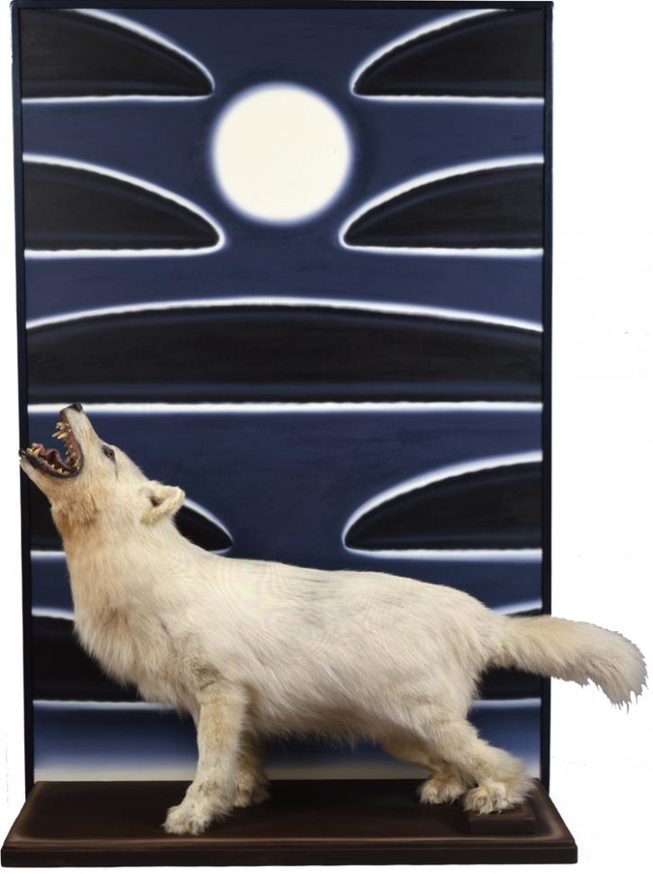"Roger Brown's ""Arctic Moon,"" 1987, oil on canvas, wood, taxidermied wolf, 74 1/2 x 49 1/2 x 21 ¼ in.  Collection of the Frederick R. Weisman Art Foundation, Los Angeles. Photo: William H. Bengtson"