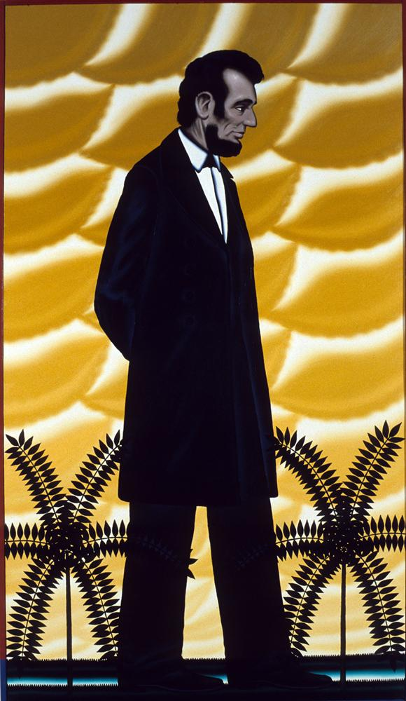 Roger Brown, Lost America, 1989, oil on canvas, 72 x 48 inches. Collection of the Chicago History Museum. Photo: William H. Bengtson