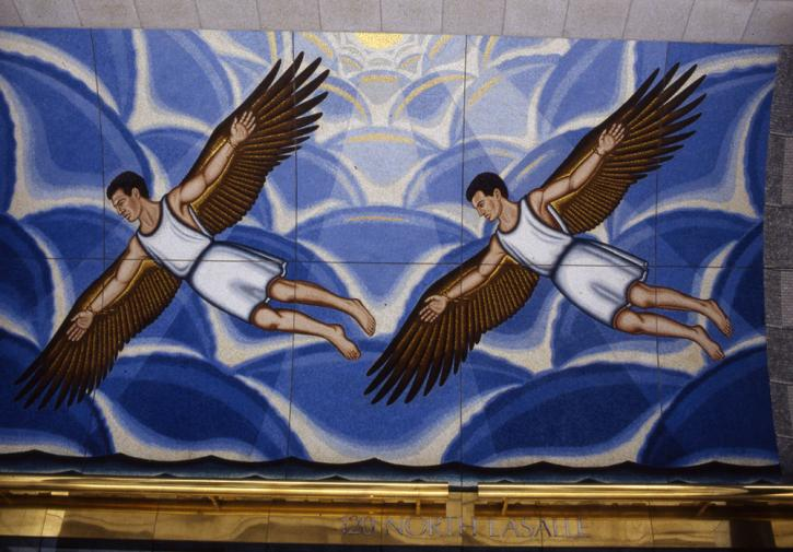 Roger Brown mural, Arts and Sciences of the Ancient World: The Flight of Daedalus and Icarus at 120 N. LaSalle St., Chicago.