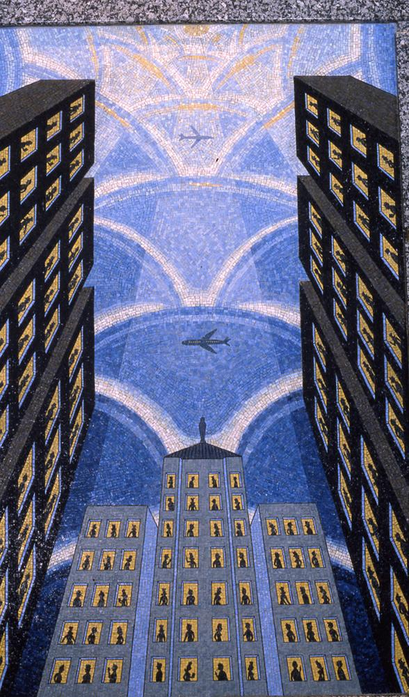 Roger Brown mural, Arts and Sciences of the Modern World: La Salle Corridor with Holding Pattern at 120 N. LaSalle St., Chicago