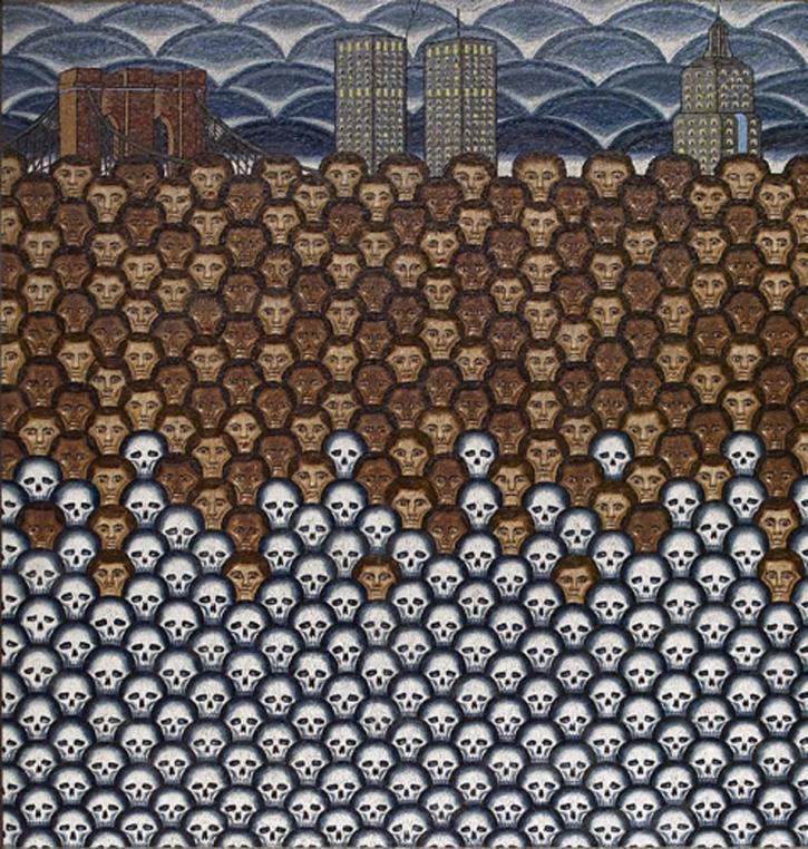 Roger Brown untitled mural at the Foley Square Federal Center, 290 Broadway, New York City