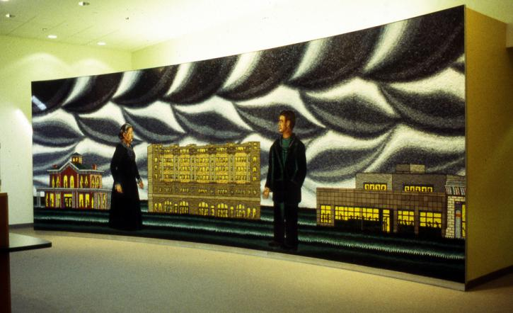 Roger Brown, Hull House, Cook County, Howard Brown: A Tradition of Helping 10 x 27 feet, Italian glass mosaic, at the Howard Brown Health Center, 4025 North Sheridan Road, Chicago, IL