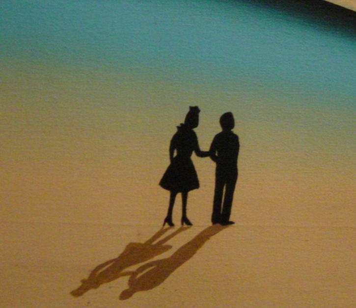 Detail from a Roger Brown painting with the silhouettes of his parents; he included silhouettes of his parents in hundreds of paintings throughout his career.