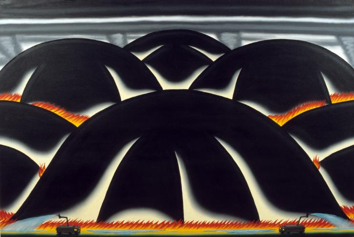 Roger Brown, Burned Hills, May – October 1997, 1997, oil on canvas, 48 x 72 in. SAIC Roger Brown Estate and Kavi Gupta