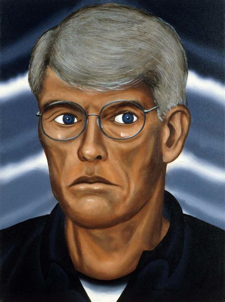 Roger Brown, Self Portrait, 1995, oil on canvas, 18 x 14 in. Collection of Larry and Evelyn Aronson, Glencoe, IL.
