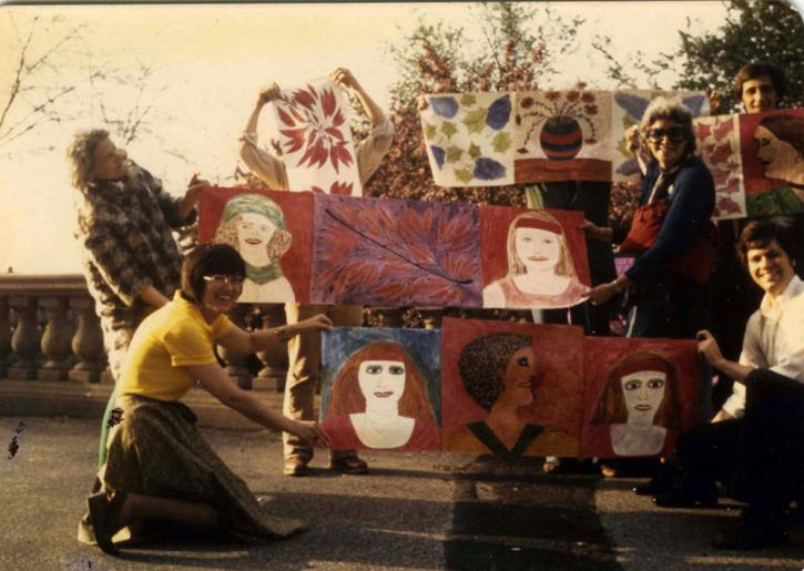 """The Red Party,"" an outdoor exhibition organized by artist Lee Godie. Pictured are: top, left to right: Lee Godie, Ruth Horwich, George Veronda; bottom, Barbara Bowman, Russell Bowman. Photo: Roger Brown, 1974"