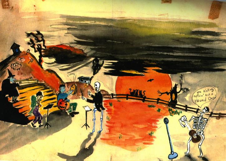 Watercolor by Roger Brown and his friend Bill Brown, for which they won first prize in a grocery store window Halloween contest in 1955.