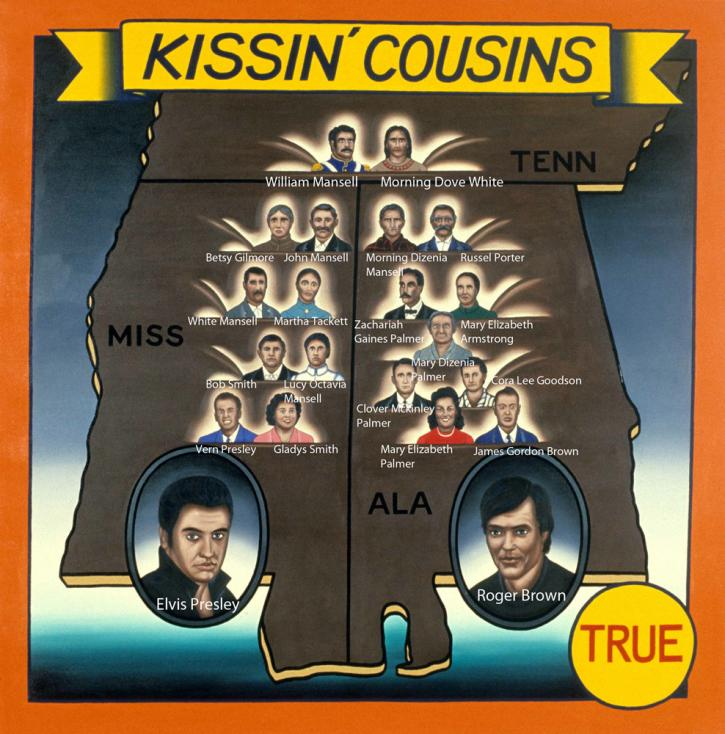 Roger Brown, Kissin' Cousins with key to the portraits.