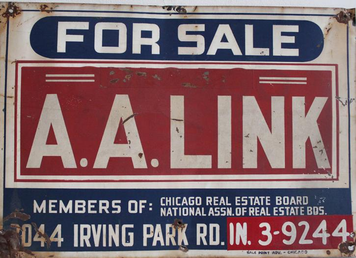 The FOR SALE sign on 1926 N. Halsted St. when Roger Brown bought the building. Roger Brown Study Collection
