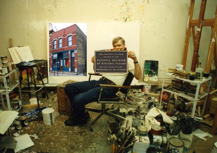 Montage of Roger Brown in his studio olding a National Register of Historic Places plaque